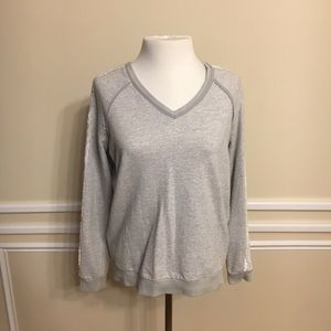 Hinge Gray and White Sweater with Lace